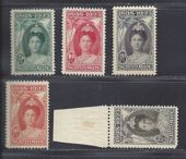 Regardez Suriname 1923 – Anniversary of the reign of Wilhelmina – NVPH 104, 105, 106, 107 and 109.