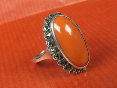 Antique noble coral marcasite silver ring