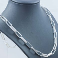 925/1,000 Silver Necklace - Italian Design – Length: 45 cm –  Weight: 34.50 g