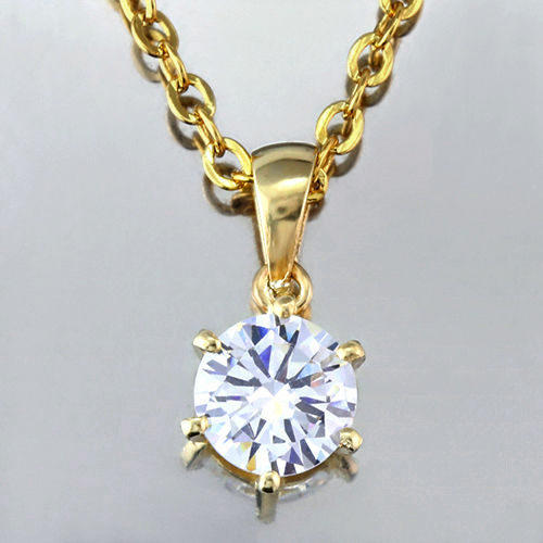 14K Solid Gold Pendant with 0.75 ct Created Moissanite - 18inch