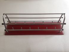 Manufacturer unknown – Vintage chrome wall coat rack with hat stand