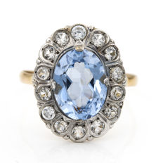 Bi-colour 18 kt white and yellow gold – Cocktail ring – Blue topaz, size 24 (SP)