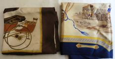 Hermès - 2 antique silk scarves, one of which are signed La Perrière