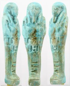 Ancient Egyptian faience ushabti from Negerin born to Heturu, - 11,7 cm - 4,61 inches
