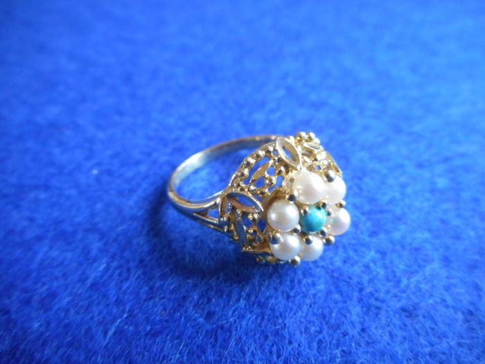 14k gold ring with 7 cultured pearls - 17 mm
