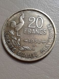 France – 20 Francs 1950 B 'Georges Guiraud' Tail with 4 sickles – Bronze Aluminium