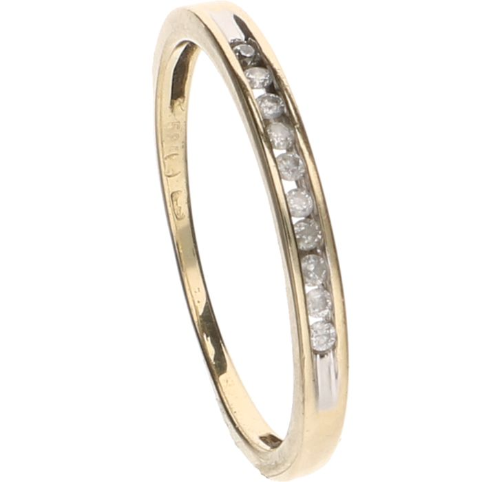 14 kt Yellow gold ring set with 10 brilliant cut diamonds, approx. 0.01 ct each – Ring size: 17.5 mm