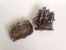 Unique - antique bronze door knocker - three master sailing ship and bronze ashtray with a steam ship