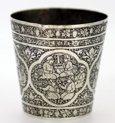 Antique silver possibly Indian cup with floral and people engravings, Circa. 1830's
