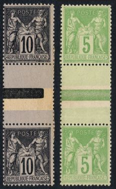 France 1880 – adjoining pairs Types I and II – Yvert No. 89f and No. 106a