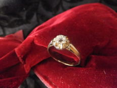 Gold solitaire ring with diamond 0.25 ct