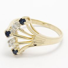 14kt Yellow Gold Ring  0.02 ct Diamonds and 0.06 ct Sapphires  Size: 7