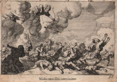 2 x  Melchior Küsel  (1626-1684) : Niobes children killed by arrows of Apollo and Diana / Plague in Aegna - 1681