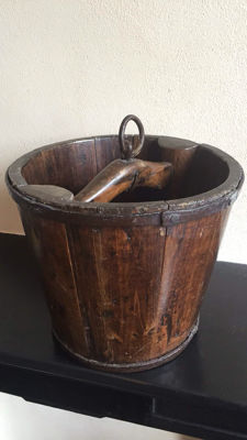 A beautiful wooden well bucket with forged iron bands and ring, France, circa 1850
