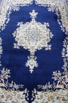 Royal blue Persian Kerman Lawar 360x260 cm Handknotted 400000 knots M/2  in beautiful Condition