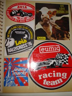 Album with Collection of hundreds of Vintage Stickers
