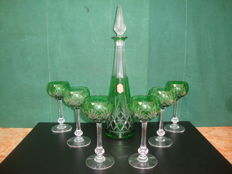 Saint Louis - 6 Green glasses with decanter . France, first half 20th century