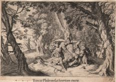 Two etchings by Melchior Küsel  (1626-1684)  Ovidi's Metamorphoses :  King Tereus violating Philomelia / Procne's revenge - 1681
