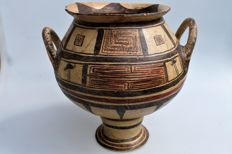 Late geometric krater with TL analysis h 26cm diameter 24.5cm