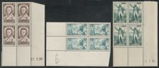 France 1936 – Blocks of 4 dated corners – Yvert No. 310 + 313 + 314