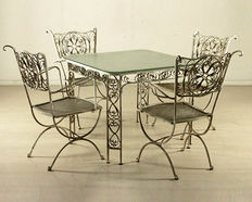 Outdoor seating set - four chairs and a coffee table - Italy, first half of the 20th century
