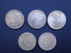 United States — 5 × 1 Dollar, various dates — silver