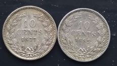 The Netherlands, 10 cents 1877 and 1889, Willem III - silver