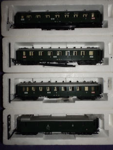 Liliput H0 - 84601/84701/84801/84901 - 1x baggage wagon and 3x passenger wagon of the Bad.St.B.