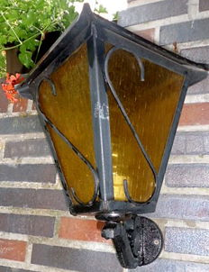 Vintage outdoor wall lamp, wrought iron and glass, height 38 cm