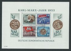 GDR or East Germany 1953 – Karl Marx year – Michel blocks 8 A/B + 9 A/B