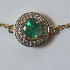 Gemfields Genuine Vintage design 0.65cts Zambian Emerald with Brazilian White Topaz bracelet