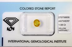 Orange Yellow Sapphire – 1.08 ct