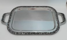 A silver plated serving tray with  richly decorated profile edge with curl patterns, Germany,