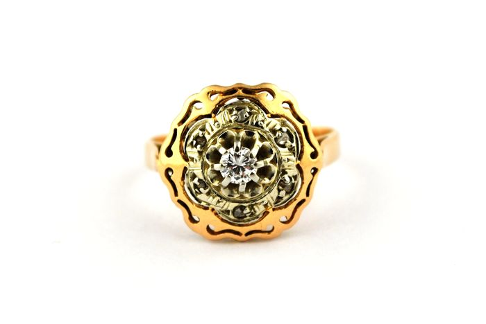 Antique Intricate Diamond (+/-0.18ct pointed and rose cuts) set on 18k Yellow/Pink Gold Ring - Size 50/51* Resizable