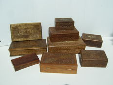 9 Wooden depot-cases - decorated - handmade