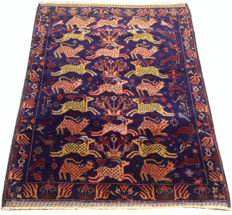 Unique Design Pictorial Fine Quality Afghan Hand Knotted Balouch Herati Area Rug 120 cm x 90cm