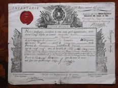 Very nice absolute leave, infantry, Royal vignette and red wax seal 12 April 1791 signed Marshal Kinglin