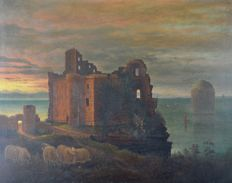 Unknown. (19th Century)  A ruined castle on the coast with sheep in the foreground at sunset.