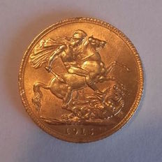 Great Britain - 1915 Pound coin - George V - Gold