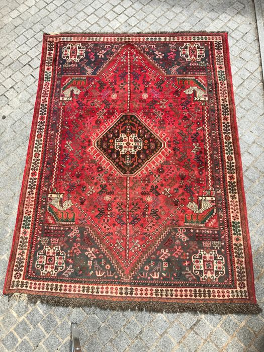 Pretty antique Persian Shiraz rug, hand-made, 185x252 cm