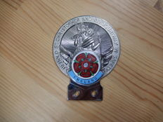 Vintage Chrome St Christopher with Enamel England Red Rose Section Car Auto Badge in Excellent Condition