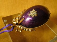 Royal Purple Guilloche Faberge egg with Surprise compartment