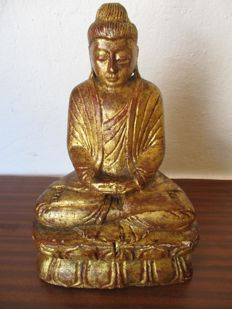A gilt wood seated Buddha on lotus in Dyana Mudra Meditation - Burma - second half 20th century