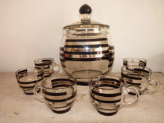 Novy Bor Glass Factory (Karl Palda) - Art Deco bowl set of crystal glass