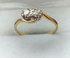 18ct Gold and Platinum Two Diamond Ring