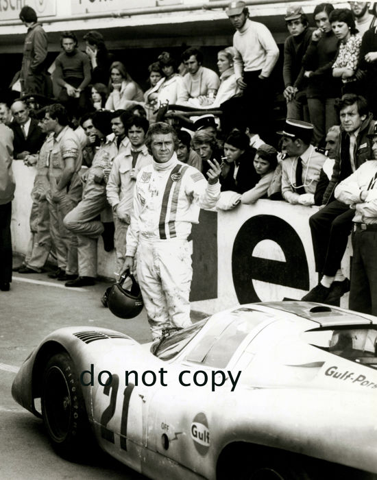 1971 Steve Mcqueen Le mans 24 hour Porsche  Black and White  Photograph. 54cm x44cm.