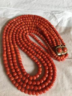 4 row red coral necklace with gold clasp