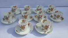 Wonderful lot of 10 pieces, white porcelain cups and saucers, hand-painted - Haviland & Co