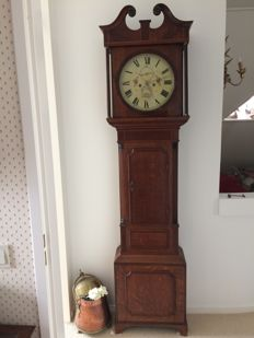 English oak grandfather clock with painted round dial - Period around 1850.
