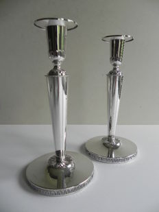 Set of silver candle stands, K&EC, Gothenburg Sweden, 1968
